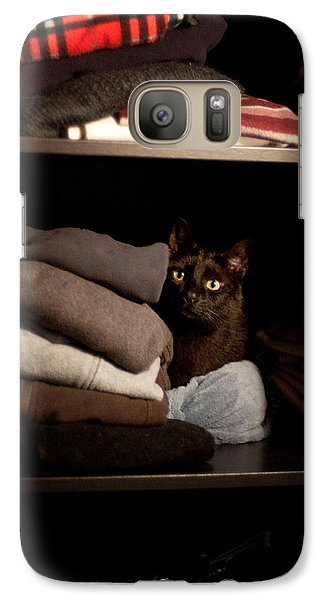Galaxy Case featuring the photograph Cat In The Closet by Laura Melis
