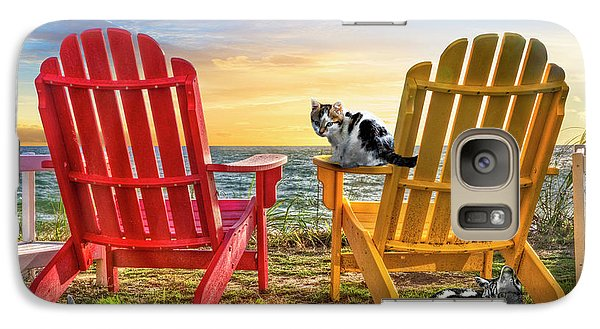 Galaxy Case featuring the photograph Cat Nap At The Beach by Debra and Dave Vanderlaan