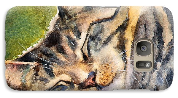 Galaxy Case featuring the painting Cat Nap by Bonnie Rinier