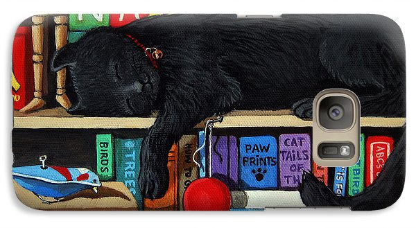 Galaxy Case featuring the painting Cat Nap - Orginal Black Cat Painting by Linda Apple
