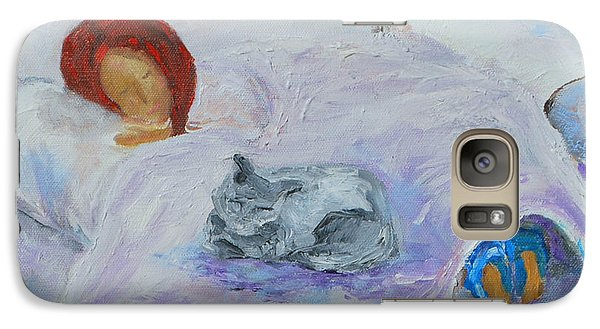 Galaxy Case featuring the painting Cat Nap  by Reina Resto