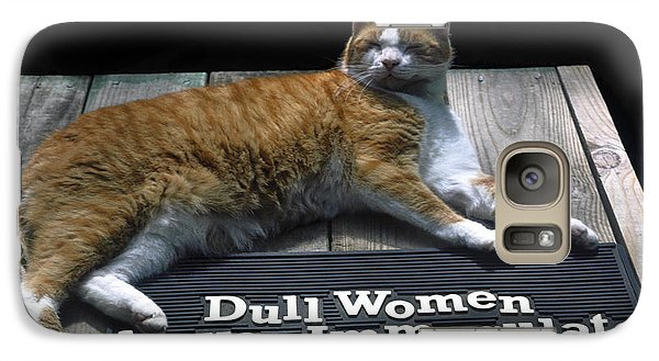 Galaxy Case featuring the photograph Cat On Dull Women Mat by Sally Weigand