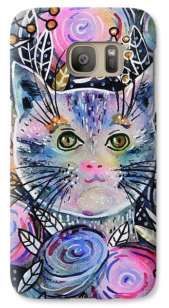 Galaxy Case featuring the painting Cat On Flower Bed by Zaira Dzhaubaeva