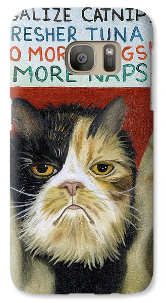 Galaxy Case featuring the painting Cat On Strike by Leah Saulnier The Painting Maniac