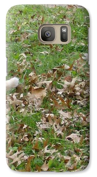 Galaxy Case featuring the photograph Cat Playing In The Leaves by Skyler Tipton
