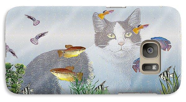 Galaxy Case featuring the digital art Cat Watching Fishtank by Terri Mills