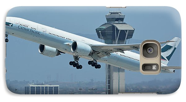 Galaxy Case featuring the photograph Cathay Pacific Boeing 777-367er B-kph Los Angeles International Airport May 3 2016 by Brian Lockett