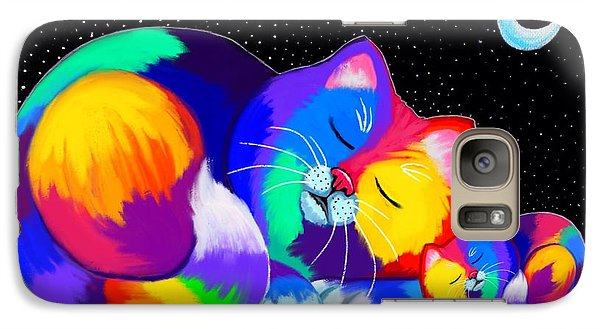 Galaxy Case featuring the drawing Catnaps For Two by Nick Gustafson
