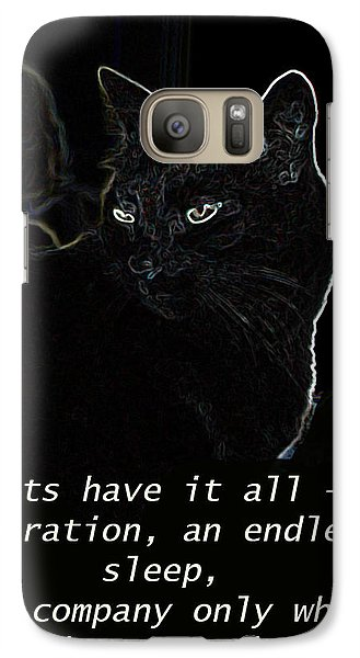 Galaxy Case featuring the mixed media Cats Have It All by Charles Shoup
