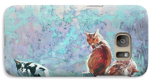 Galaxy Case featuring the painting Cats. Washed By Rain by Anastasija Kraineva