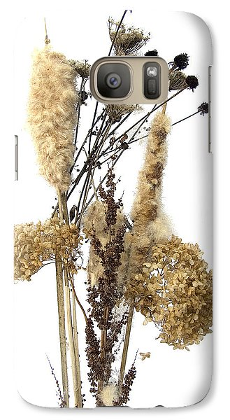 Galaxy Case featuring the digital art Cattails And November Flowers II by Lise Winne