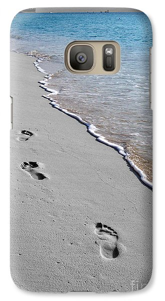 Galaxy Case featuring the digital art Cayman Footprints Color Splash Black And White by Shawn O'Brien