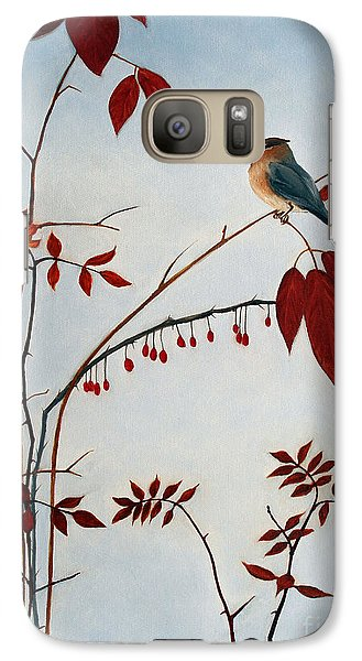 Cedar Waxwing Galaxy Case by Laura Tasheiko