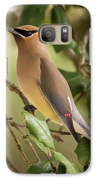Cedar Waxing Galaxy S7 Case - Cedar Waxwing Portrait by Terry DeLuco