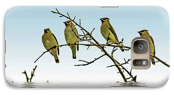 Cedar Waxwings On A Branch Galaxy Case by Geraldine Scull