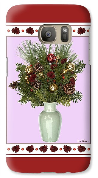 Galaxy Case featuring the digital art Celadon Vase With Christmas Bouquet by Lise Winne