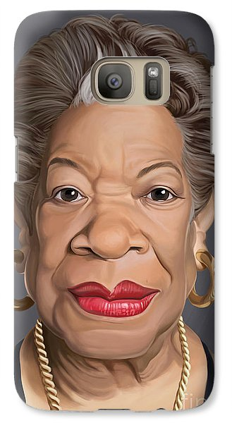 Galaxy Case featuring the drawing Celebrity Sunday - Maya Angelou by Rob Snow