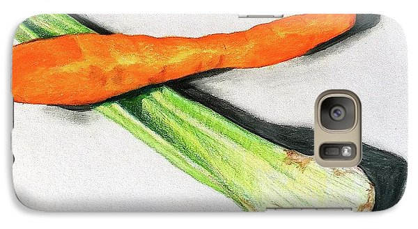 Galaxy Case featuring the drawing Celery And Carrot Together by Sheron Petrie