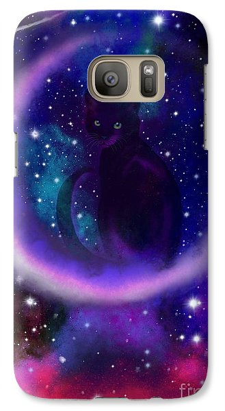 Galaxy Case featuring the painting Celestial Crescent Moon Cat  by Nick Gustafson