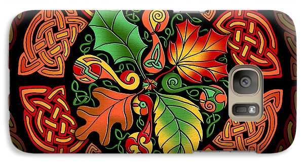 Galaxy Case featuring the mixed media Celtic Autumn Leaves by Kristen Fox