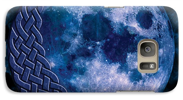 Galaxy Case featuring the mixed media Celtic Blue Moon by Kristen Fox
