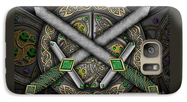 Galaxy Case featuring the mixed media Celtic Daggers by Kristen Fox