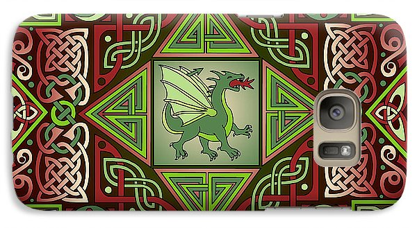 Galaxy Case featuring the mixed media Celtic Dragon Labyrinth by Kristen Fox