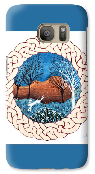 Galaxy Case featuring the painting Celtic Knot With Bunny by Lise Winne