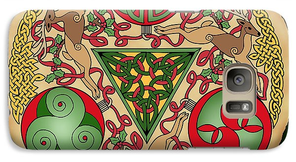 Galaxy Case featuring the mixed media Celtic Reindeer Shield by Kristen Fox