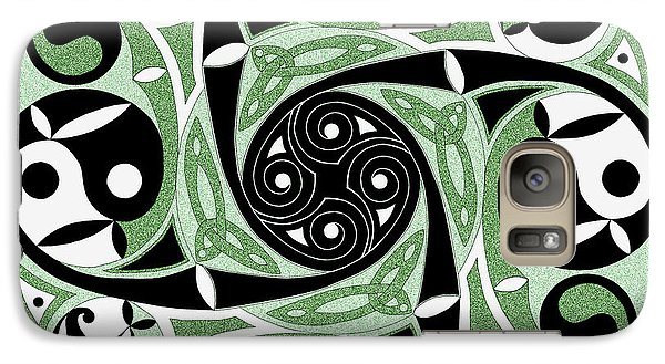 Galaxy Case featuring the mixed media Celtic Spiral Stepping Stone by Kristen Fox