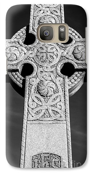 Galaxy Case featuring the photograph Celtic Stone Cross At Sunset by Gary Whitton