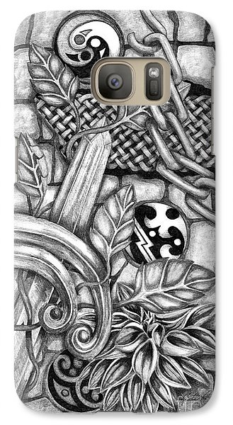 Galaxy Case featuring the drawing Celtic Surreality by Kristen Fox