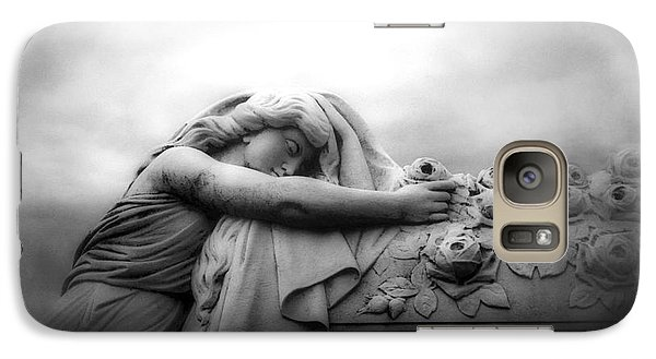 Galaxy Case featuring the photograph Cemetery Grave Mourner Black White Surreal Coffin Grave Art - Angel Mourner Across Rose Coffin by Kathy Fornal