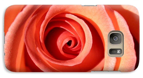Galaxy Case featuring the photograph Center Of The Peach Rose by Barbara Chichester