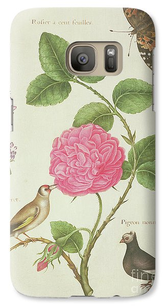 Centifolia Rose, Lavender, Tortoiseshell Butterfly, Goldfinch And Crested Pigeon Galaxy S7 Case