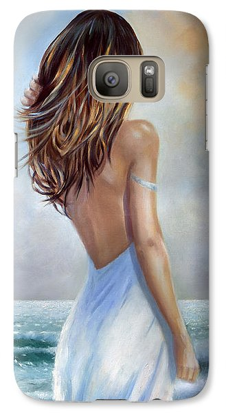 Galaxy Case featuring the painting A Walk On The Beach by Michael Rock