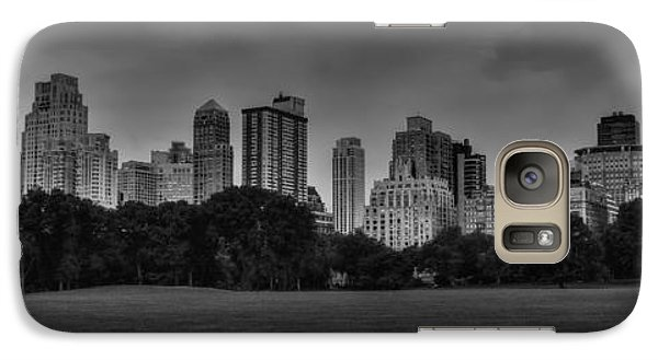 Galaxy Case featuring the photograph Central Park Skyline Pano 001 Bw by Lance Vaughn