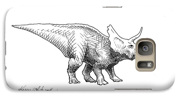 Cera The Triceratops - Dinosaur Ink Drawing Galaxy S7 Case by Karen Whitworth