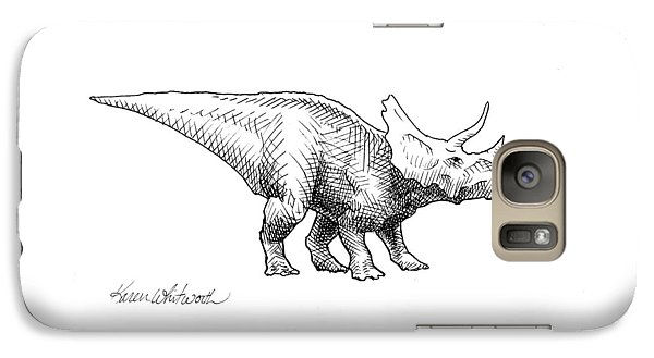 Cera The Triceratops - Dinosaur Ink Drawing Galaxy Case by Karen Whitworth