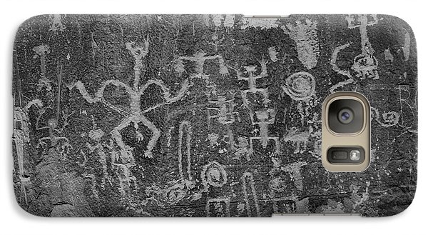 Galaxy Case featuring the photograph Chaco Canyon Petroglyphs Black And White by Adam Jewell