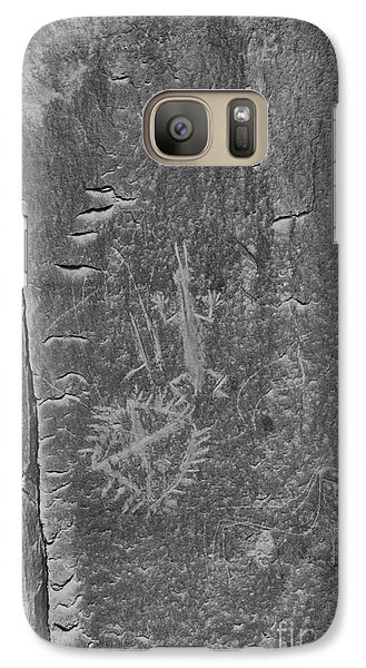 Galaxy Case featuring the photograph Chaco Petroglyph Figures Black And White by Adam Jewell
