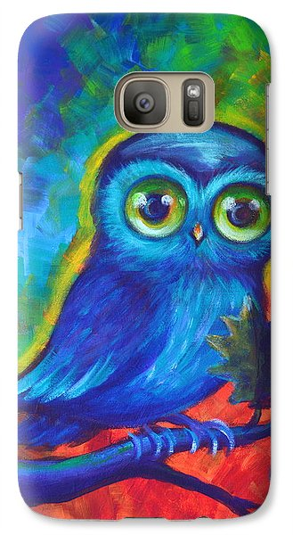 Galaxy Case featuring the painting Chakra Abstract With Owl by Agata Lindquist