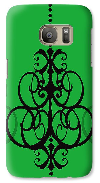 Galaxy Case featuring the photograph Chandelier Delight 1- Green Background by KayeCee Spain