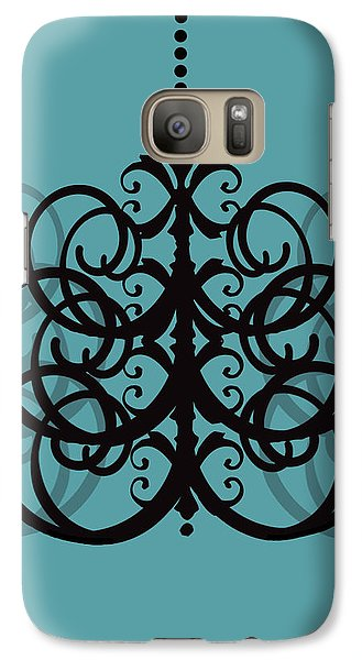 Galaxy Case featuring the photograph Chandelier Delight 2- Blue Background by KayeCee Spain
