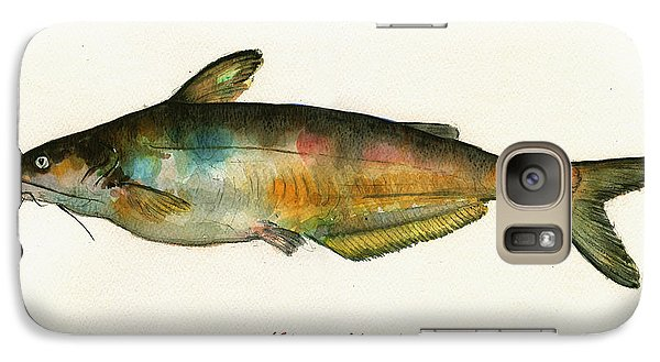 Catfish Galaxy S7 Case - Channel Catfish Fish Animal Watercolor Painting by Juan  Bosco