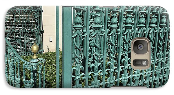 Galaxy Case featuring the photograph Charleston Aqua Turquoise Rod Iron Gate John Rutledge House - Charleston Historical Architecture by Kathy Fornal