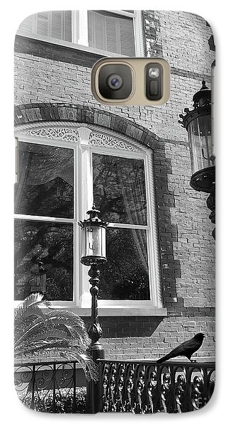 Galaxy Case featuring the photograph Charleston French Quarter Architecture - Window Street Lanterns Gothic French Black White Art Deco  by Kathy Fornal