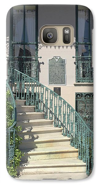 Galaxy Case featuring the photograph Charleston Historical John Rutledge House - Aqua Teal Gate Staircase Architecture - Charleston Homes by Kathy Fornal