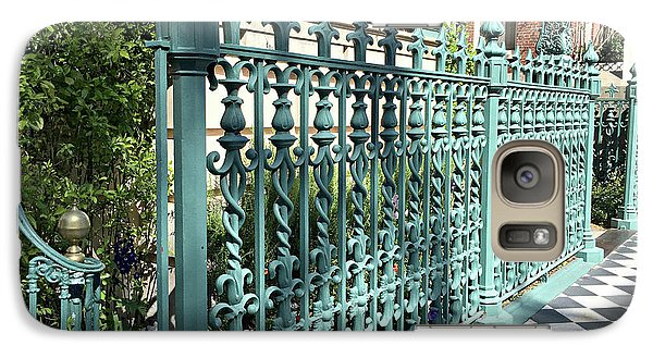 Galaxy Case featuring the photograph Charleston Historical John Rutledge House Fleur Des Lis Aqua Teal Gate Fence Architecture  by Kathy Fornal