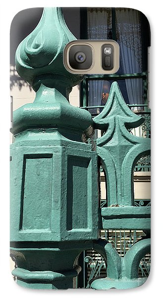 Galaxy Case featuring the photograph Charleston John Rutledge House Fleur De Lis Symbols - French Quarter Architecture Gate Posts by Kathy Fornal